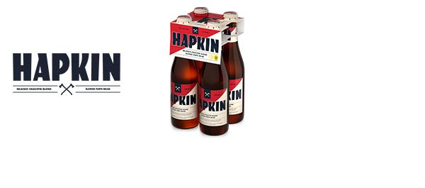 Hapkin. Belgisch krachtig blond bier.