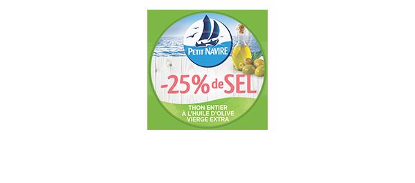 Thon huile olive -25% sel Petit Navire