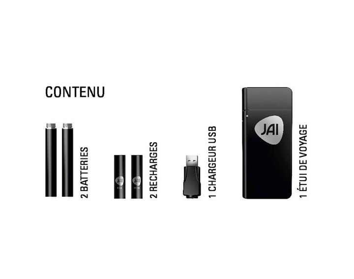 Coffret de 2 vapoteuses rechargeables JAI 2 Recharges (Fresh & Rich), 2 batteries, 1 étui, 1 chargeur USB