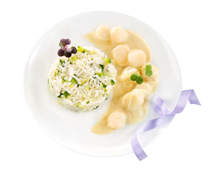 Noix de Saint Jacques sauce au Chablis et riz aux légumes verts 350g - 5,95€