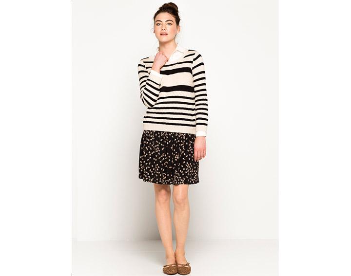 Pull coton femme esprit marinière points fantaisie, DAGAMA - 69€
