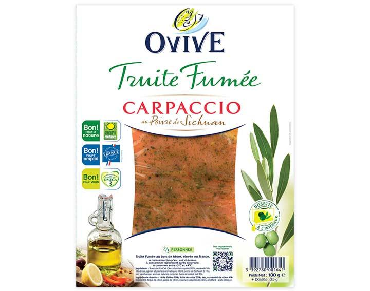 Carpaccio de Truite Fumée au Poivre de Sichuan avec dosette d'huile d'olive citronnée