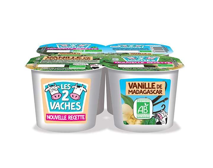 Yaourts brassés Les 2 Vaches à la vanille de Madagascar x4