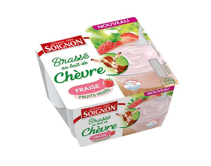 Yaourt fruits mixés fraise au lait de chèvre