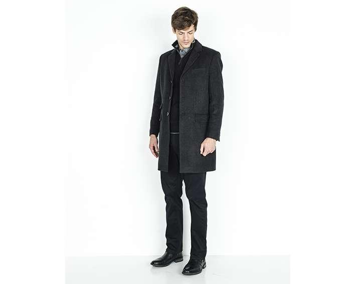 Manteau homme drap de laine chevrons droit, ELSING - 250€