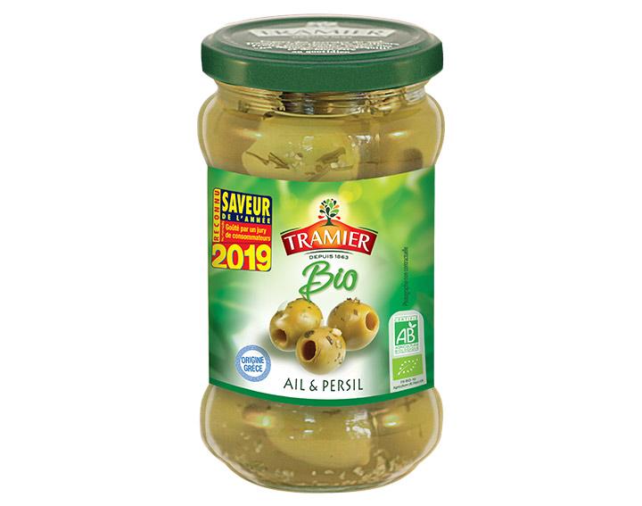 Olives vertes dénoyautées ail et persil