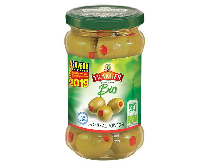 Olives vertes dénoyautées farcies au poivron