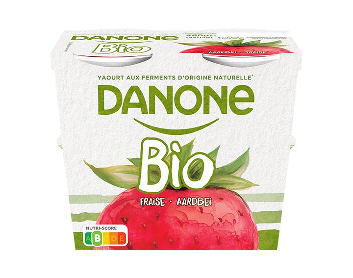 Volle bio yoghurt met aardbei 4x115g