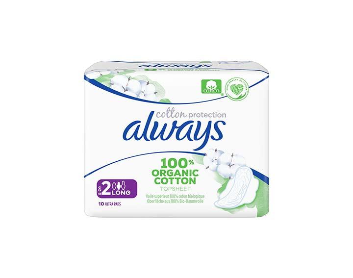 10 serviettes Always Cotton Protection - Long