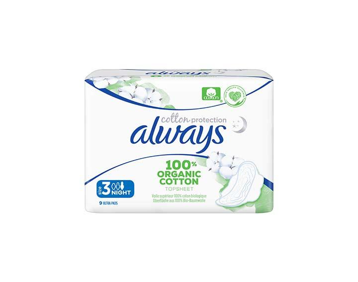 9 serviettes Always Cotton Protection - Nuit