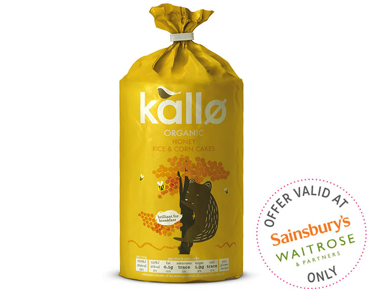 Kallo Organic Honey Rice & Corn Cakes 125g