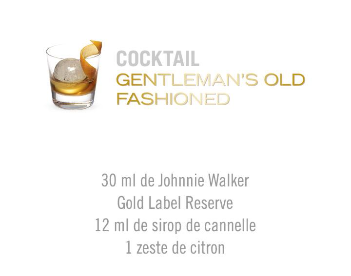 Découvrez le cocktail Gentleman's Old Fashioned Johnnie Walker Gold Label Reserve