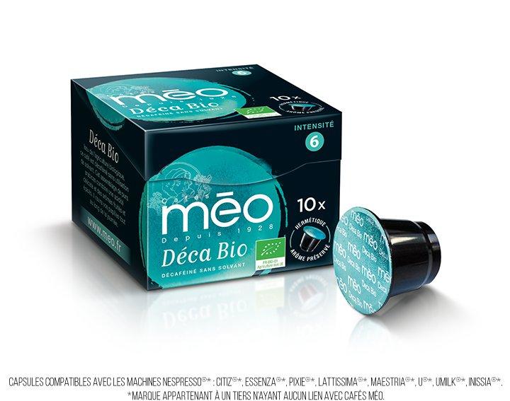 Capsules cafés Méo - Déca Bio (écrin 10 capsules)