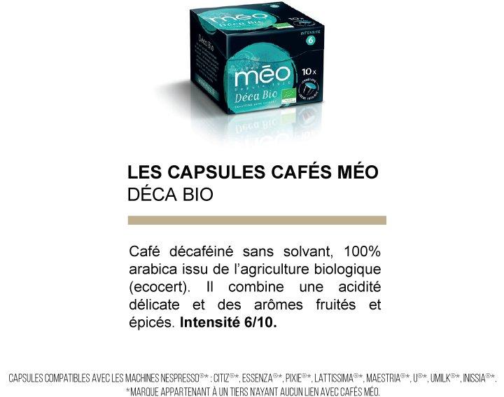 Capsules cafés Méo - Déca Bio