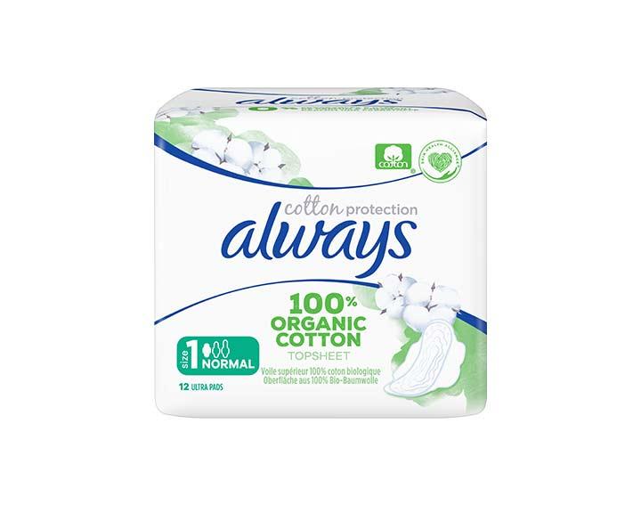 12 serviettes Always Cotton Protection - Normal