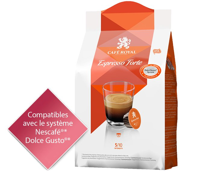 Capsules Café Royal Espresso Forte *Cette marque est la propriété de tiers qui n'ont aucune relation avec Delica AG.