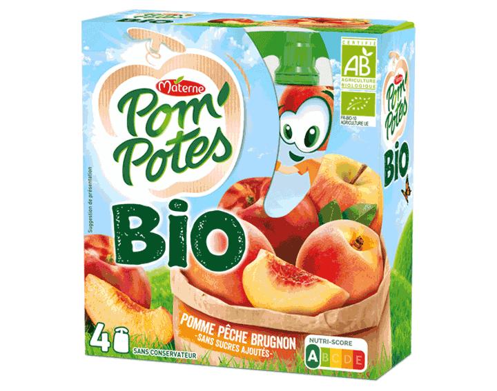 Pom'Potes® Bio Pomme Pêche Brugnon 4x90g