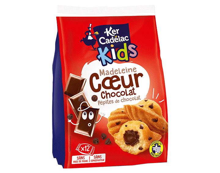 Madeleines coeur Chocolat & Pépites de Chocolat x12, 360g
