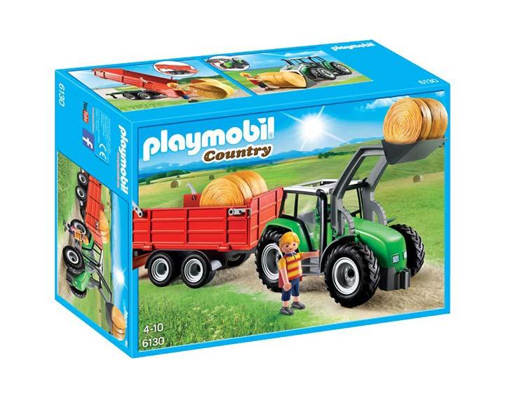 Tracteur avec pelle et remorque