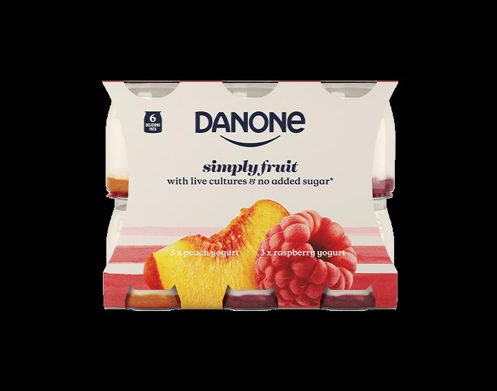 Simply Fruit Peach & Rapsberry Yogurt 6x110g