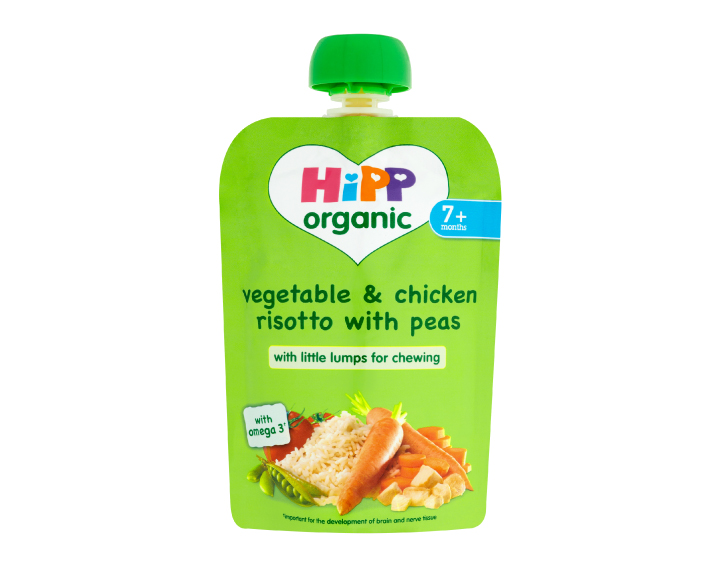 HiPP Organic pouch vegetable & chicken risotto with peas