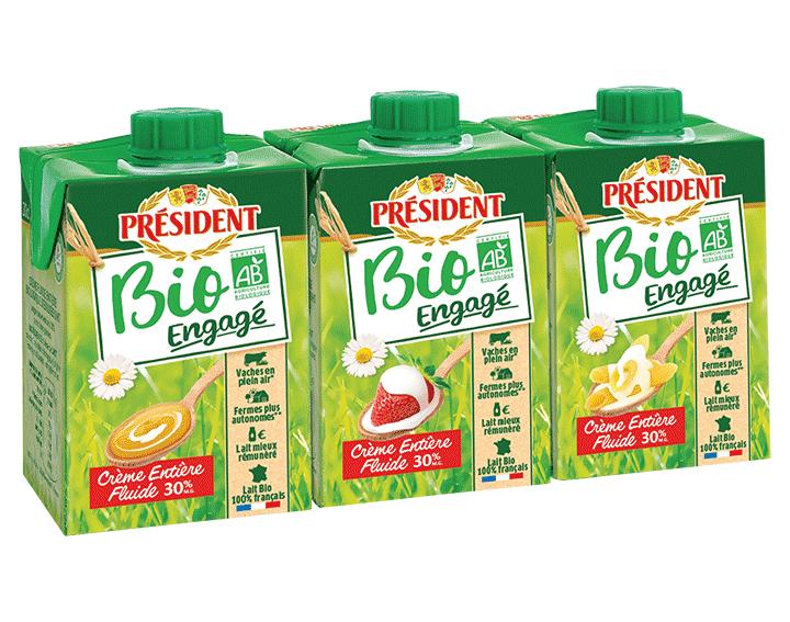 Président Crème entière Fluide Bio 3x20cl
