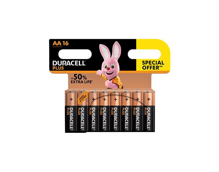 Duracell Plus AA 16 piles offre spéciale