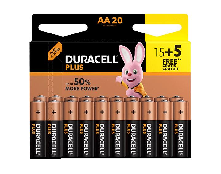 Duracell Plus AA 15+5 Gratuites Piles