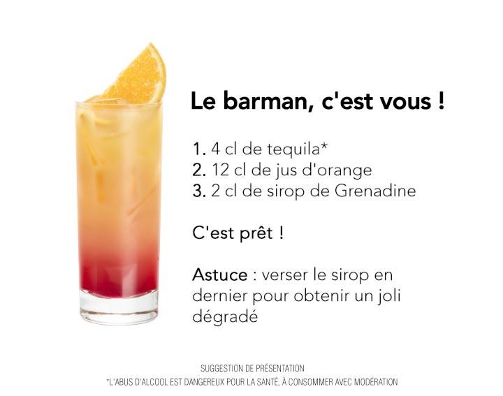 Recette cocktail avec alcool : Tequila Sunrise