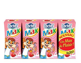 Lactel Max à l'arôme naturel de fraise 4x20cl