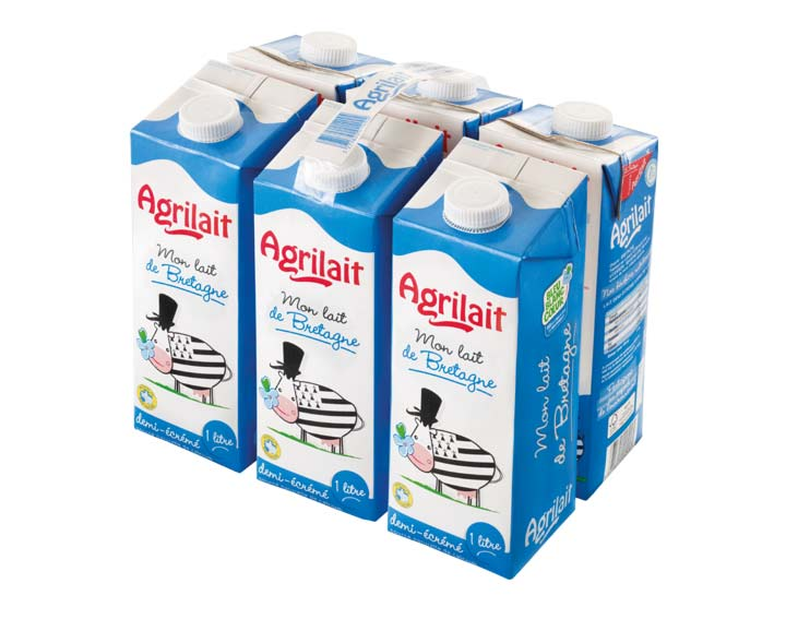 Pack 6x1L de lait Agrilait demi-écrémé