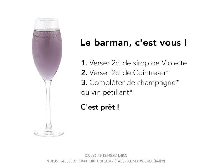 Recette cocktail avec alcool : Bulle de Violette