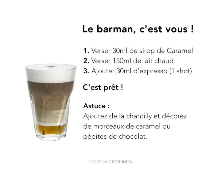 Recette cocktail sans alcool : Latte Caramel