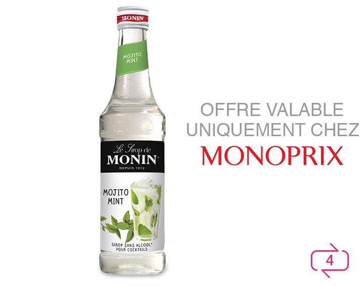 Offre valable sur 1 bouteille de sirop de Monin