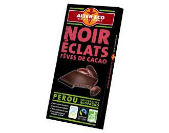 Noir éclats fèves de cacao