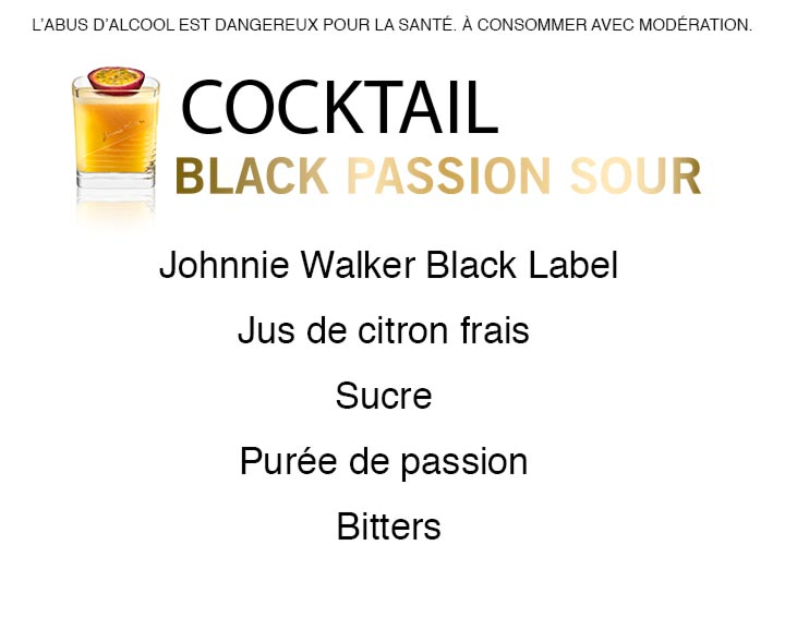 Découvrez le cocktail Johnnie Walker Black Passion Sour