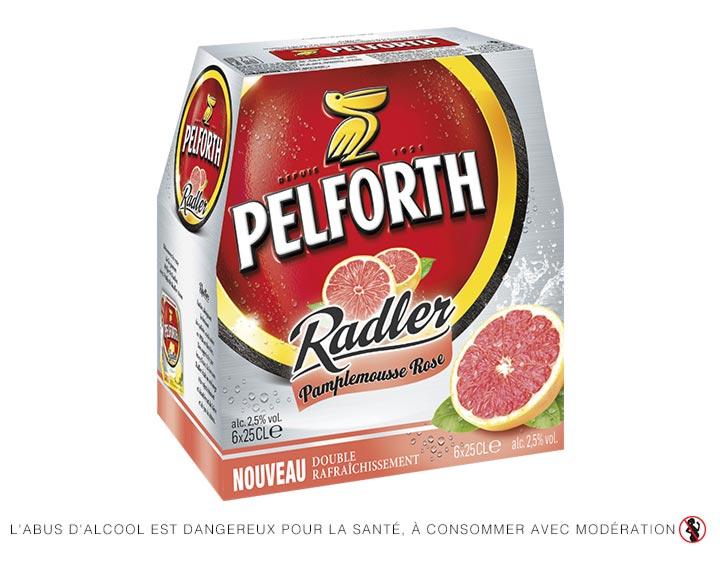 Pelforth Radler 6x25cl - Spécialité à base de bière et de jus de pamplemousse rose 2.5°