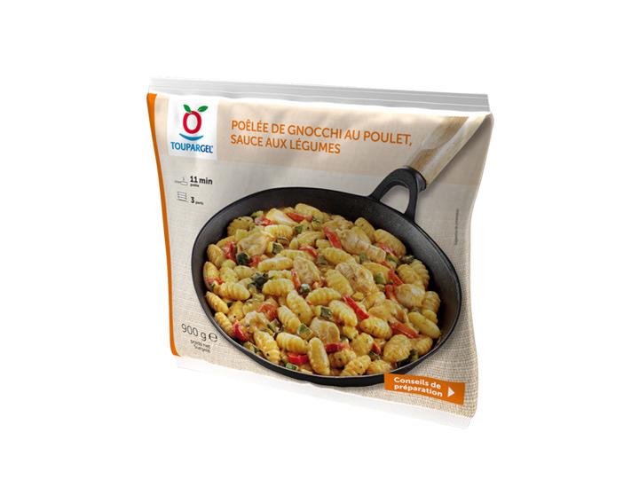 Poêlée de gnocchi au poulet, sauce aux légumes