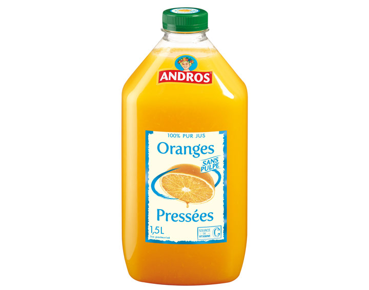 100% pur jus d'Oranges sans pulpe 1,5L