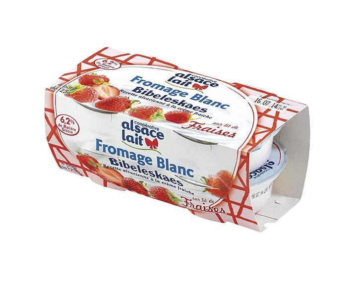 Fromage blanc sur lit de fraises Alsace Lait