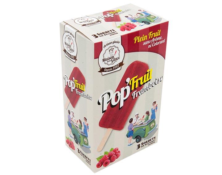 Sorbet framboise bâtonnets - POP'FRUIT