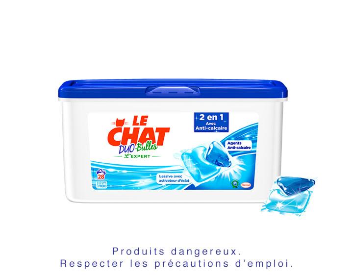 Le Chat Duo-Bulles 2en1 avec Anti-calcaire - 28 doses