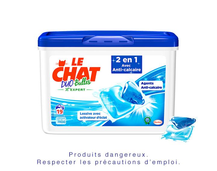 Le Chat Duo-Bulles 2en1 avec Anti-calcaire - 19 doses