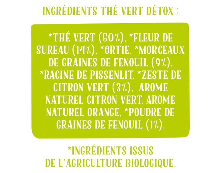 Ingrédients Thé Vert Détox