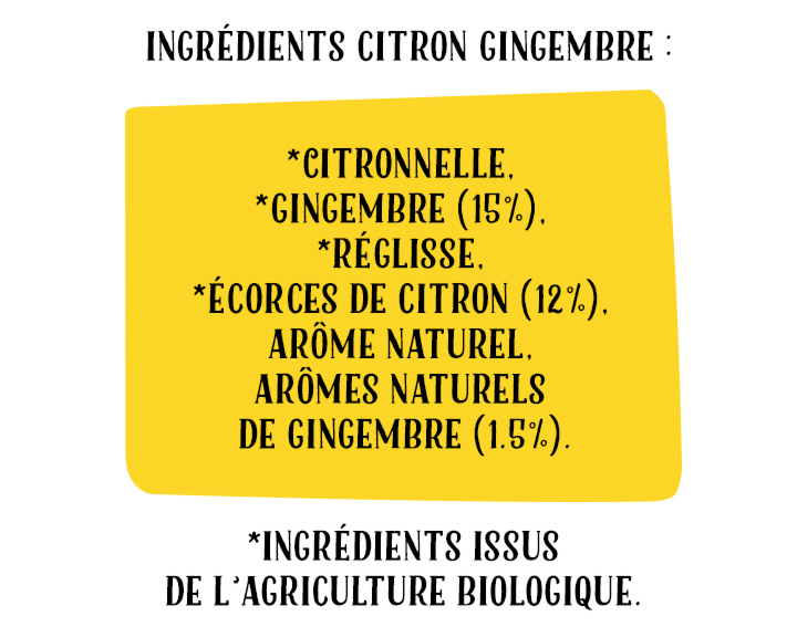 Ingrédients Infusion Citron & Gingembre